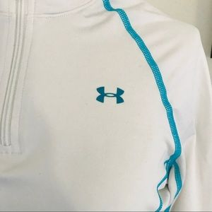 Women's Under Armour White Teal Cold Gear Half Zip